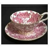 Coalport Cup & Saucer Pink Leaves and Ferns