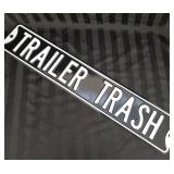 Metal Trailer Trash street sign