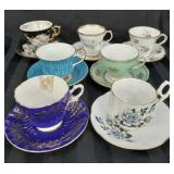 Nice lot of 7 mixed brand tea cup and saucer sets