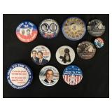 11 political collector buttons/pins.