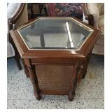 Lovely MCM wooden hexagon side table wi glass top.