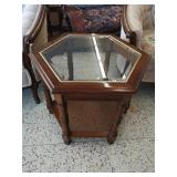 Lovely MCM wooden hexagon side table w glass top.
