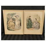 1871 Antique Paris Ladies Fashion Prints Framed