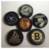 Lot of 6 NHL Hockey Pucks