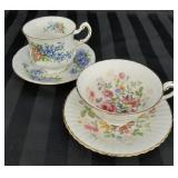 Pair of Paragon floral tea cup and saucer sets