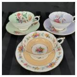 Three Paragon bone china cup and saucer sets