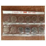 1992 Canada 125 Canadian 25 Cent Coin Proof Set