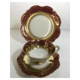 Bavaria Ruby Red & Gold Cup Saucer Plate