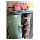 WOOD CABINET w/ FUEL CANS, GREASE GUNS, MISC. OIL