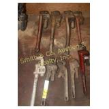 9 PIPE WRENCHES, MOSTLY RIDGID BRAND