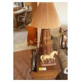 WOOD END TABLE, LAMP, HORSE STATUE