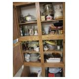CONTENTS OF CABINET, GLASSWARE, MISC.