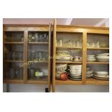 CONTENTS OF CABINET, GLASSWARE, CORNING WARE