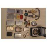 LIGHTERS, PINS, WATCHES,