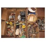 7 BOXES OF OLD NICK NACKS, FIGURINES, MISC.