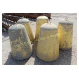 CEMENT BARRICADES, GROUP OF 5