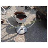 SMALL CST IRON POT ON A STEEL WHEEL FOR PLANT