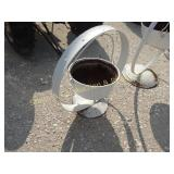 SMALL CAST IRON POT ON A STEEL WHEEL, HANGING