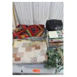 2 QUILTS, VHS TAPES, RADIO, FAKE PLANT