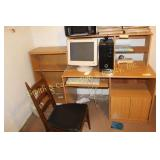 COMPUTER, DESK, BOOK CASE, CHAIR, END TABLE, MISC.