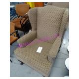 LOT, 2 FABRIC WING BACK CHAIRS