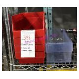LOT, 5 PCS BINS , 4- SMALL RED & 1- LARGE CLEAR