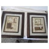 2-Interior Decorate Pictures Framed Glass w/insert