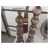 2-Candle Stands 22in. & 19in. & Vases