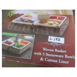 Woven Basket & 5-Stoneware pieces