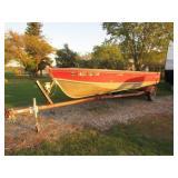 83 Lund 18ft. ALum Boat w/Trailer & 50HP Merc Eng.
