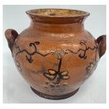 Antique Slip Decorated Redware Sugar Pot