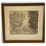Marinus Adamse Charcoal Framed Landscape Art
