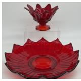 Ruby Red Art Glass Lotus Bowl and Footed Dish