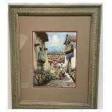 Original Village Scene Watercolor Signed Leonardo