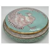Chinoiserie Peacock Covered Bowl