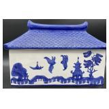 Blue and White Pagoda Lidded Porcelain Box