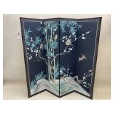 Vintage Painted 4-Panel Chinese Folding Screen