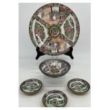 Asian Painted Famille Rose Porcelain Dish Set