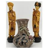 Vintage Asian Statues and Pottery Vase