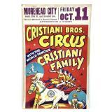 Vintage Circus Poster - Cristiani Bros - Morehead
