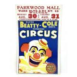 Vintage NC Circus Poster Clyde Beatty - Cole Bros