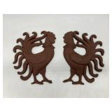 Pair of Cast Iron Roosters