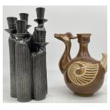 Pottery Jug and Candlestick Group