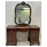 Mahogany Ball in Claw Desk / Vanity with Mirror
