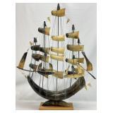 Five Mast Vintage Cow Horn Clipper Sailing Ship