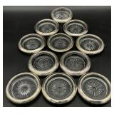 11pc Sterling & Silver Plated Wrapped Coasters