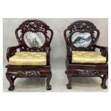Antique Asian Marble Back Arm Chair