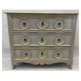 Paint Decorated Distressed 3 Drawer Designer Chest