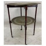 Two Tier Faux Bamboo Brass Stand