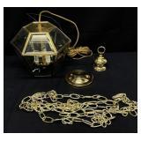 Vintage Hampton Bay Brass & Glass Hanging Light